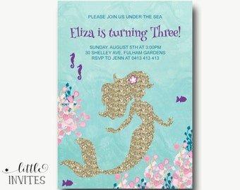 Mermaid birthday invitations/Mermaid invitations/mermaid invitation/Mermaid birthday invitation/girl birthday invitation/1st birthday-Eliza