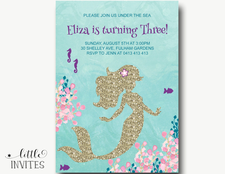 Mermaid birthday invitations/Mermaid invitations/mermaid