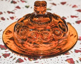 Vintage Amber KINGS CROWN Cheese Dish