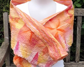 Gorgeous, Ultra lightweight Nuno felted wrap / scarf in bright sunshine colours