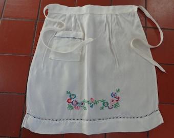 Vintage Embroidered half apron.