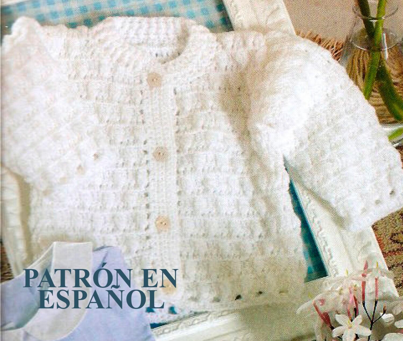 Knitting Crochet In Spanish : Spanish baby crochet pattern easy cardigan