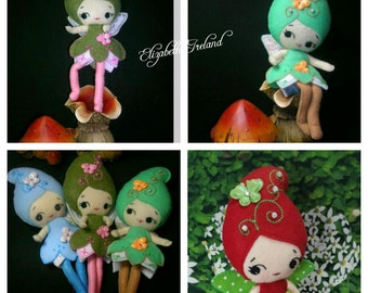 my Basic 8 to 12 -inch Merino Soft Wool Felt Doll -poseable Fairy/Faeries Options on colors available