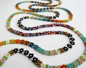 Beaded Multicolor Mexican Daisies FLOWERS extra large Necklace handmade by Luciana Lavin
