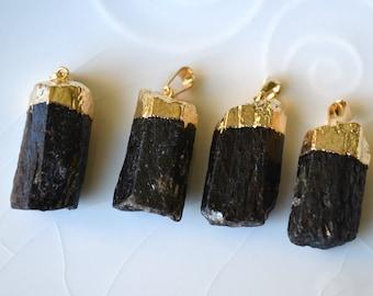 Black Tourmaline Pendant, Gold Dipped Tourmaline Pendant