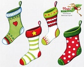 Christmas Stockings Clip Art Set, Hand Painted Watercolor Xmas Elements, Digital Download Clipart, Scrapbooking Clip Art, Holiday Party, DIY