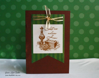 Let Us Adore Him, Religious Christmas Card, Green Gold Brown