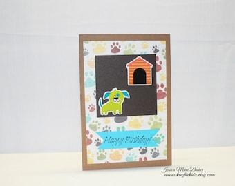 Handmade Birthday Card - Puppy Birthday Card - Happy Birthday Card - Childrens Birthday Card