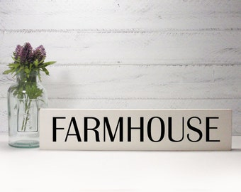 Farmhouse- Block Sign- Hand Painted Wooden Block- Country Decor- Wooden Blocks-Farmhouse Decor- Distressed- Home Decor