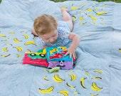 Baby mat , Beach blanket , Picnic Blanket , Beach Mat , Baby play mat , Playmat , Padded Rug , Tummy time mat with banana print