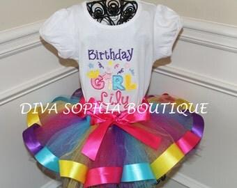 Bright Colorful Birthday Girl Ribbon Tutu Set - Newborn Baby Infant Tutu - Toddler Tutu