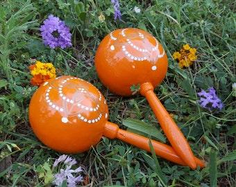 Orange Maraca (pair)