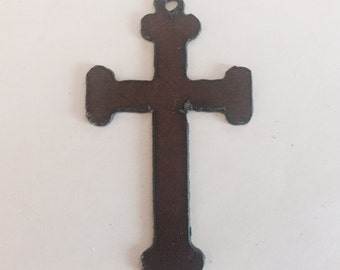Large CROSS Charm with square ends made of Rustic Rusty Rusted Recycled Metal Pendant Cutout