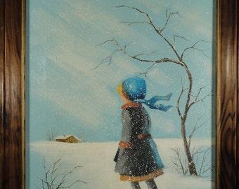 Vintage Oil Painting Winter Landscape Folk Art Original Female Figure Girl Portrait in Snow American Outsider Canvas Framed