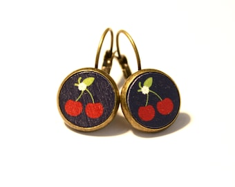 Earrings * cherry * wood