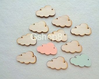 Laser Cut  Wood Cloud, 10 Wood Supplies for Jewelry