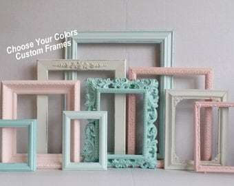 vintage wall frames. PICTURE FRAMES Custom  Choose Your Colors Frame Collection Ornate Distressed Frames Gallery Wall Wedding Nursery Set White Shabby Chic Hand Painted