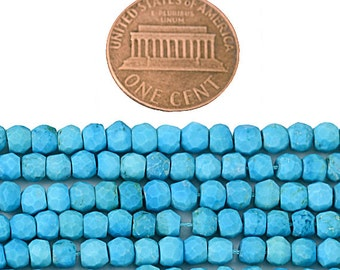 Premium faceted Turquoise Rondelle beads - 3-4mm faceted -13 inch strand Wholesale Price GemMartUSA (RLTQ-70002)