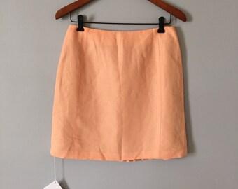peach linen mini skirt | pleated mermaid back skirt