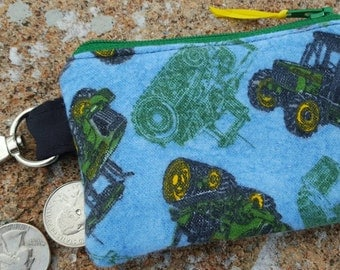 Green Tractor Coin Purse, Boys Zipper Wallet