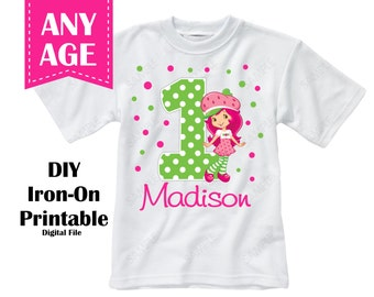Printable Strawberry Shortcake Girl Birthday Iron On Transfer Custom Colors Personalized Name Age - Digital File