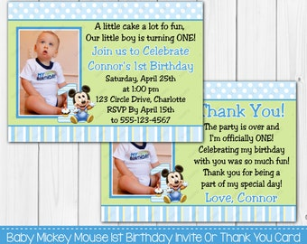 Baby Mickey Mouse boy 1st First Birthday Invitation OR Thank you Card