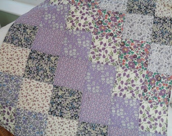 Lilac Liberty print handmade patchwork cot quilt, baby blanket, ready to post