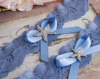 Beach Wedding Garter Set, Something Blue Bridal Garter Set, Blue Lace Garter, Lace Wedding Garter,  Beach Garter Set, Starfish Garter