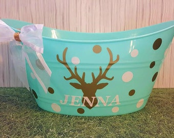 Personalized Bucket, Oval Easter Basket, Toy Storage Tub, Deer Head with a Bow