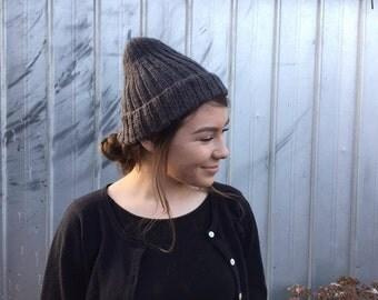 smokey grey rib knit beanie