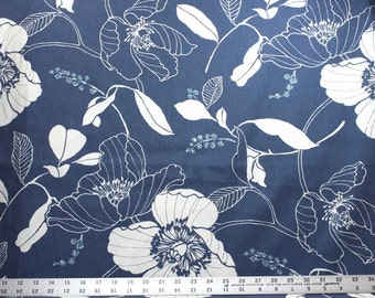 One and One Half Yard - Off White Flowers and Leaves on Blue Mill Creek Indoor / Outdoor Fabric