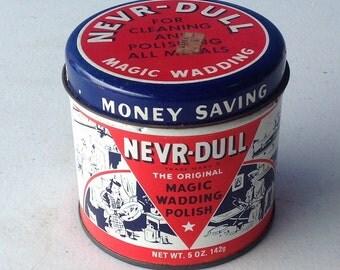 NEVR-Dull Never Tin Magic Wadding Polish red white blue Cleaning Polishing vintage household cleaner Wad inside!