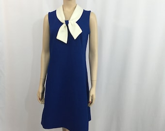 Vintage 1970s Sailor Dress Royal Blue White Polyester