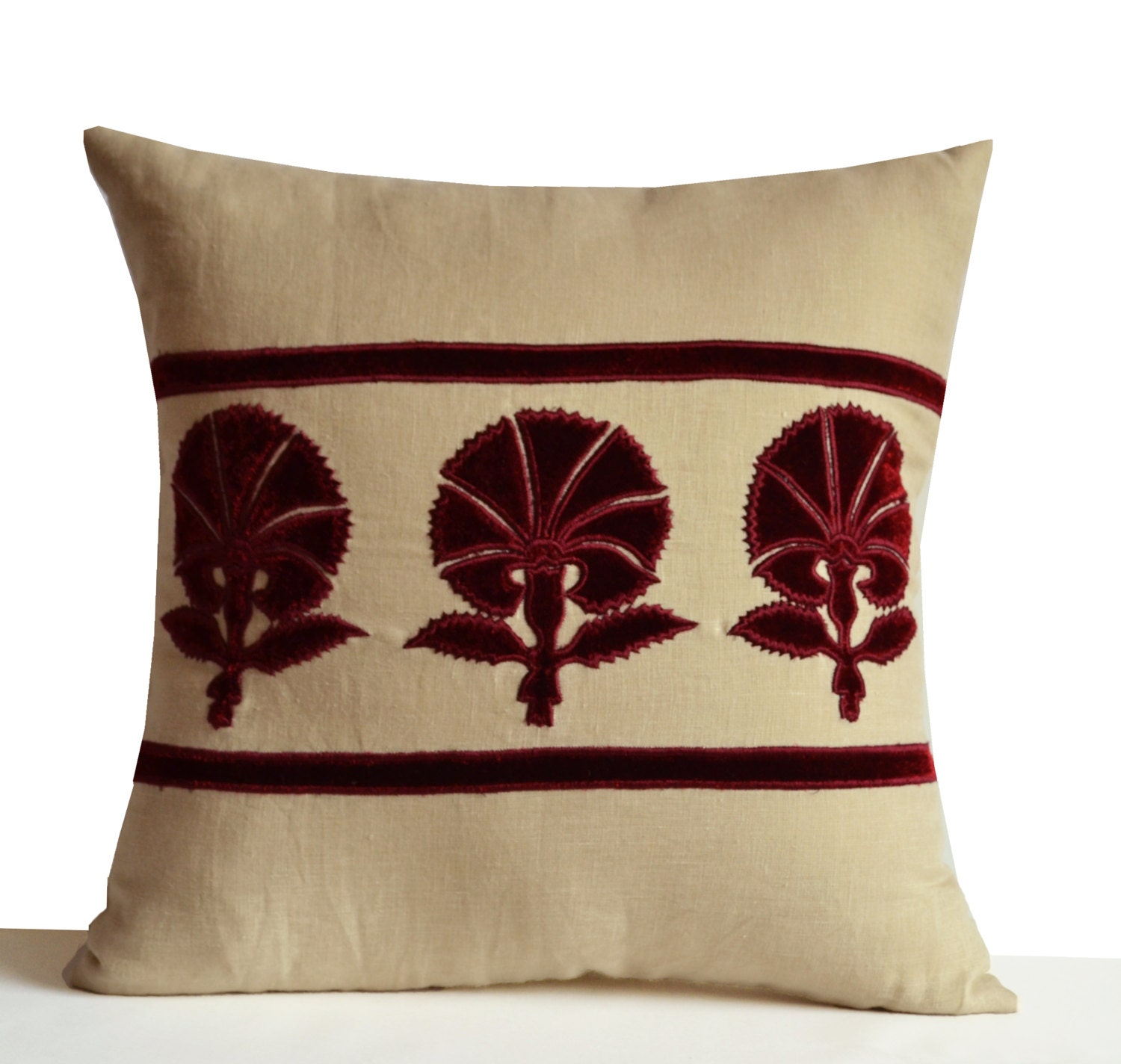 Decorative Throw Pillow Grey Beige Linen with Deep Red Velvet