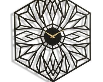 Desert Bloom, Large Wall Clock. Laser Cut, Modern, Minimal, Geometric, Boho