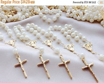 10%off weekend sale 20 pcs Pearl First communion favors Recuerditos Bautizo 20pz/ Mini Pearl Rosary Baptism Favors 20 pcs