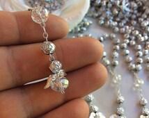 10%off weekend sale 40 pcs Angel Pearl Decade Rosaries, Mini Rosaries, First communion favors Recuerditos Bautizo 40pz/ Mini Pearl Rosary Ba