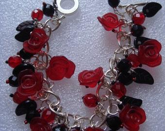Red Rose Charm Bracelet
