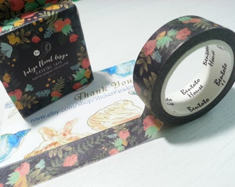 Black Flower Washi / Masking Tape - 7M