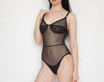 Willa Bodysuit - black mesh bodysuit with cut out back