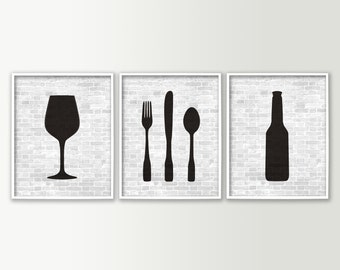 Kitchen Decor - Unique Kitchen Art - Beer Wine Fork Knife Spoon Set of 3 Wall Art Prints - Back and White Shown - Choose your Design Color