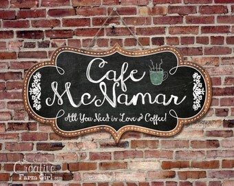 Personalized chalkboard Cafe Sign, Beautiful Cafe Sign Personalized and printed with your name.
