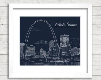 8x10 St. Louis, Missouri Skyline Print - St. Louis Skyline - The Gateway Arch - Customized Print - St Louis Wedding - Anniversary Gift