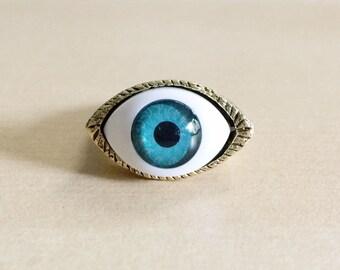 Evil Eye Ring - Glass Eyeball Cabochon, Antique Bronze Ring Base, Size 8, Eyeballs, Brass, Blue, White, Greek, Talisman, Protection, Reiki