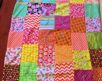 Cotton and Robin's Egg Blue Fleece Baby patchwork quilt baby blanket with traditional quilt knots