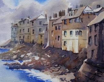 "Original watercolour painting ""Coastal Scene, St Ives, Cornwall, UK"""