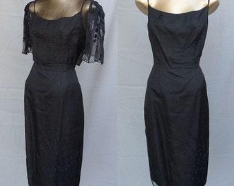 Vintage 1950s  Black Silk and Organza Dress / 50s Embroidered Bolero / M-L Size