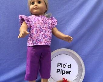 18 inch Doll Clothes - Plum Floral Capri Set