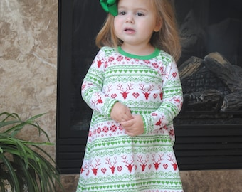 Girls jersey knit Fairisle Christmas dress featuring Reindeer Hearts and Snowflakes