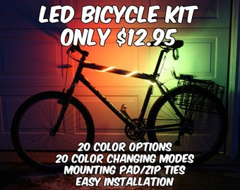 Bicycle LED Kit Battery Operated RGB Strip Light Kit 20 inches AA Battteries